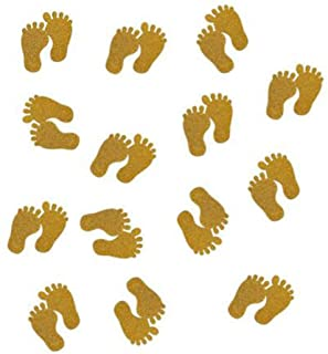 Baby Shower Table Confetti Double -Side Glitter Gold Baby Foot Paper Confetti, 100pcs