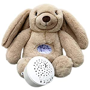 White Noise Sound Machine for Sleeping Baby / Children w / Star Night Light Projector for Nursery Bedroom , Portable Bunny Stuffed Animal for Travel by Sleepy Whispers