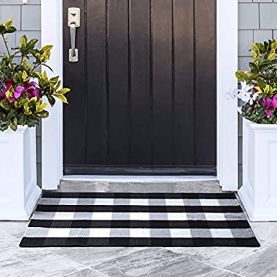 """Delxo Cotton Buffalo Plaid Rug,27.5""""x43.5"""" Hand-Woven Indoor or Outdoor Rugs for Layered Door Mats Washable Carpet for Front Porch/Kitchen/Farmhouse/Entryway (Black&White)"""