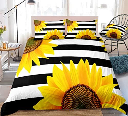 Striped Sunflower Bedding Flowers Duvet Cover Set Yellow Sunflower and Black Stripe Printed Design White Black Boys Girls Bedding Sets Twin 1 Duvet Cover 1 Pillowcase (Twin, Striped Sunflower)