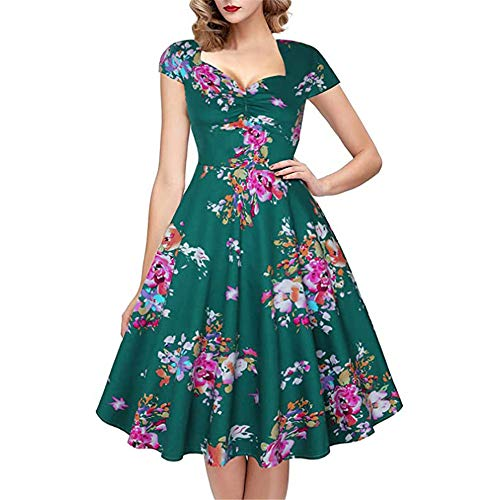 Generice Lady Christmas Retro Floral Sugar Skull Print Vestido de noche Seora Esqueleto Calavera Halloween Fancy Costume Party Swing Dress Retro Vestido