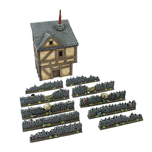 War World Gaming Muros Fantasy de Resina con Detalles Especiales y Casa de Ciudad – Wargames Juego Diorama Valla Escenografía Modelismo Miniatura Maqueta Modelo Warhammer Seguimiento Envío