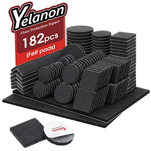 Yelanon Furniture Pads 182 Pieces - Felt Furniture Pads Self Adhesive Anti Scratch Floor Protectors for Chair Legs Feet, Protect Hardwood Tile Wood Floors & Laminate Flooring