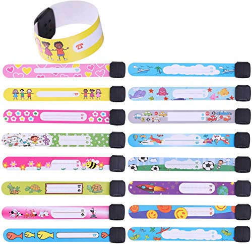 LOCOLO ID Safety Wristbands, 16 Pcs Waterproof ID Bands Adjustable Information Bracelet for Kids Child Adults
