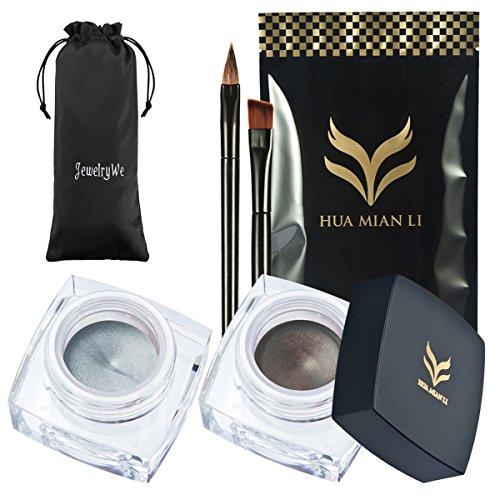 JewelryWe 2 Ombre à paupières de maquillage + 2 Pinceaux de Mauquillage Peigne Sourcils Fard À Paupières Couleur Violet Vert