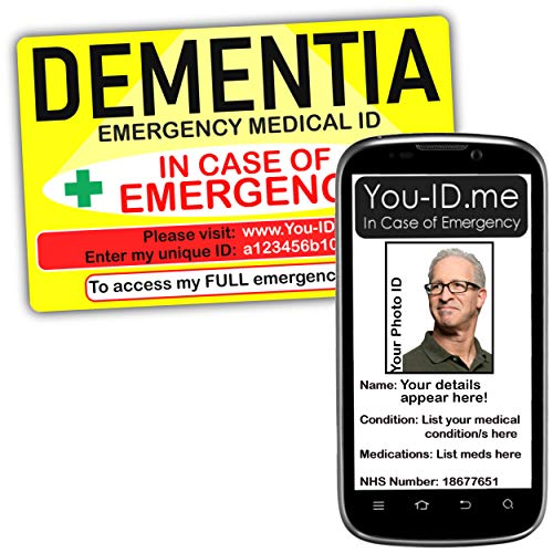 Dementie waarschuwing kaart bewustzijn nood-ID medische identiteit portemonnee. Waarschuw mijn contactpersonen via SMS-serviceopties beschikbaar voor 3, 6, 12, 60 en Lifetime lidmaatschap 12 month service