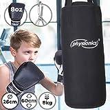 Physionics Kinder Boxsack-Set - mit Boxhandschuhen 8oz, Gefüllt, Ø26 cm, H60 cm, Gewicht 8kg, inkl. Karabinerhaken, für Junior Training - Sandsack,...