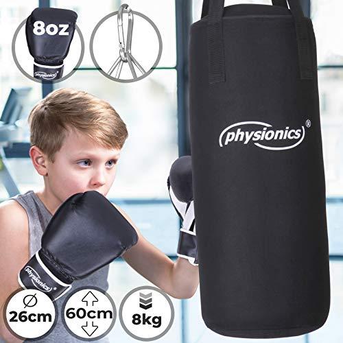 Physionics Kinder Boxsack-Set - mit Boxhandschuhen 8oz, Gefüllt, Ø26 cm, H60 cm, Gewicht 8kg, inkl. Karabinerhaken, für Junior Training - Sandsack, Kickboxen, MMA, Kampfsport, Muay Thai, Punching Bag