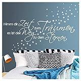 Wandora G003 Spruch Nimm dir Zeit zum Träumen I schwarz (BxH) 135 x 41 cm I Sterne Schlafzimmer Aufkleber selbstklebend Wandaufkleber Wandsticker