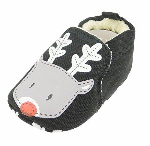 Glamour Girlz Chaussons pour bébé fille ou garçon avec visage d'animal - Noir et gris - Motif renne de Noël - 12 - 3-6 mois