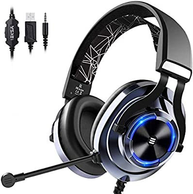 EKSA Gaming Headset for Xbox One PC Headset with Noise Cancelling Mic, RGB Light & In-Line Control, Gaming Headphones for PC, Laptop, PS4, PS5, Nintendo Switch, Xbox One (S/X) by Eksa