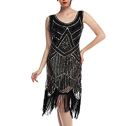 iYmitz Damen Jahrgang 1920 Kleids Pailletten Perlen Partykleider Bridal Quasten Party Nacht Flapper...