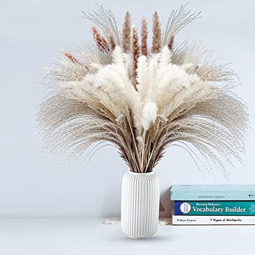 80pcs Natürlich Getrocknetes Pampasgras, Getrocknete Gras, Getrocknete Blumen, Blumenstrauß-Arrangement für Heimdekoration, 100% Natürliche, Weiß 20pcs, Natürlich 30pcs, Schilfrohr 30pcs(43–45 cm)