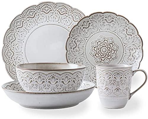 Juego de platos, Conjuntos de vajillas de 16 PC, conjuntos de cenas en cerámica El estilo pastoral europeo, el servicio completo de mesa incluye platos, tazones y tazas, compatibles con microondas y l