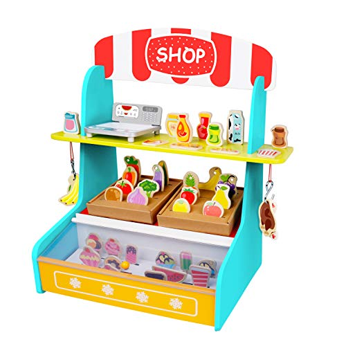 TOYSTER'S My Play Shop Wooden Grocery Store Stand   Pretend Play Kitchen Workshop for Toddler Girls and Boys   Farmers Market Lemonade Wood Toy Includes Play Fruits, Vegetables and Ice Cream