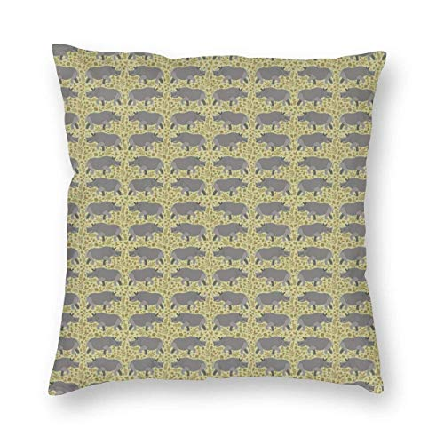 N / A Soft and Cozy Pillow Covers with Hidden Zipper, Rhino Rhinoceros Rhinoceroses Decorative Square Pillowcase Throw Cushion Case for Bedroom, Living Room, Sofa, Couch and Bed