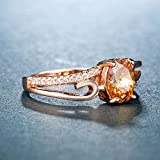 DJMJHG Luxury Party Ring with Oval Shape Champagne Cz Prong Setting Rose Gold Color Valentines Gift Rings For Women 6 Champagne