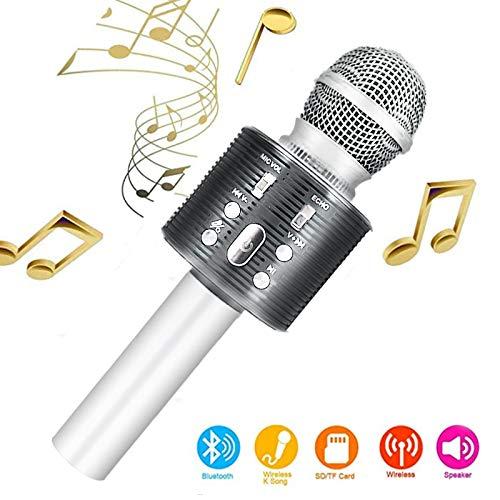 Karaoke-Mikrofon, Bluetooth, kabellos, Karaoke-Mikrofon für Kinder, paarbar für Duetten mit bunten Lichtern, Geschenk für 5 Jahre alte Jungen (Silver)