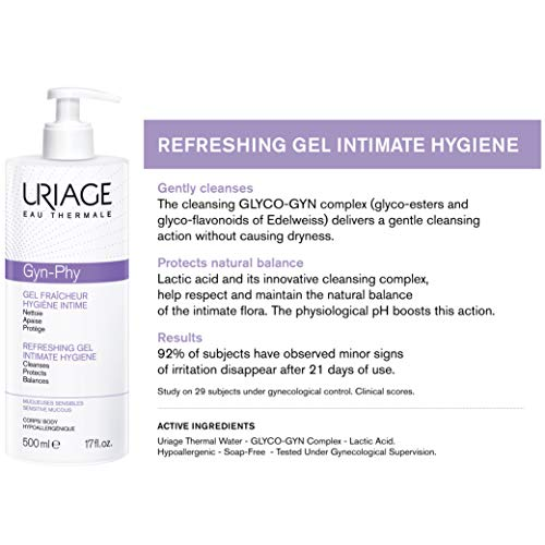 URIAGE GYN Phy Refreshing Intimate Gel 17 fl.oz.   Feminine Wash That Gently Cleanses, Guarantees Anti-Irritation Effectiveness & Protects   Soap Free, Paraben-Free, Dermatologist Tested