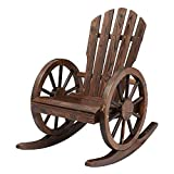 Kinsunny Outdoor Wood Wagon Rocking Chair Patio Lounge Rocker Set with Wheel Armrest for Garden, Country, Yard
