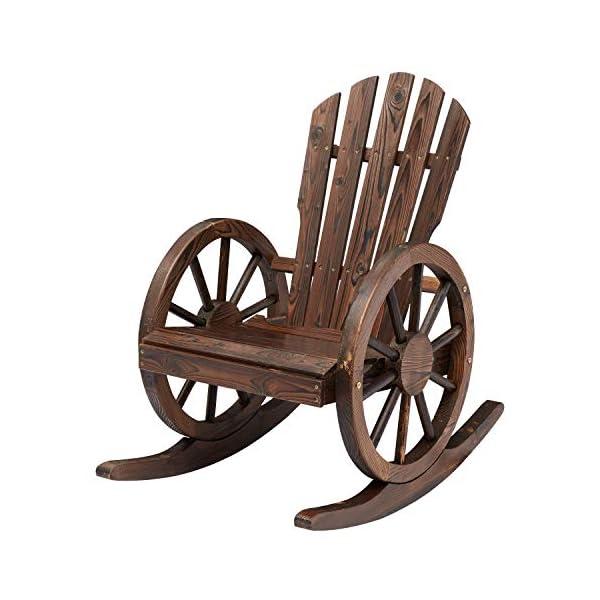 Kinsunny Outdoor Wood Wagon Rocking Chair Patio Lounge Rocker Set with Wheel Armrest...