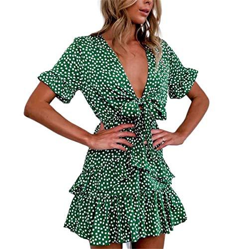 Vestito da Donna Abito da Cocktail Arricciato a Maniche Corte Scollo a V Profondo Linea ad A Stampa Floreale Casual Elegante (Verde, L)