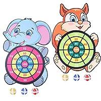 VALICLUD 1袋2セット子供用ダーツボードゲーム粘着ボール付き象猫型ダーツボード子供用おもちゃギフト誕生日パーティーの好意