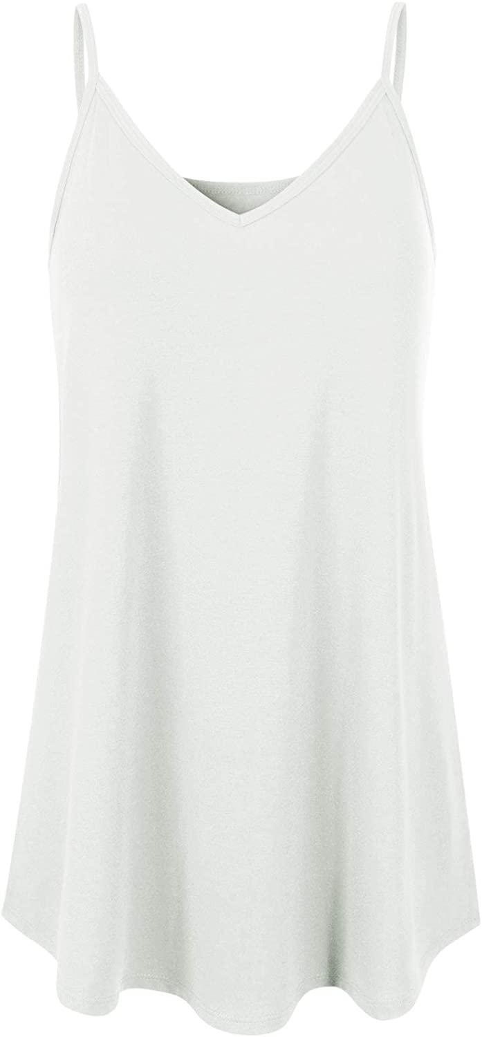 MixMatchy Women's V-Neck/Scoop-Neck Front and Back Reversible Spaghetti Cami Top
