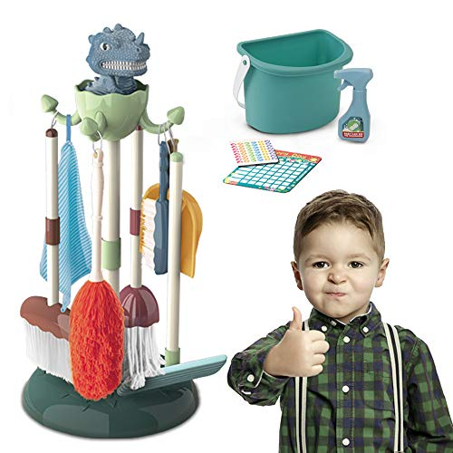 Kids Cleaning Set Toys 10PCS - Toddler Housekeeping Pretend Play Stuff Include Mop,Broom,Dustpan,Brush,Duster,Spray,Bucket,Glass Cleaner,Dish Cloth,Housework Cards Detachable Kid-Sized for Montessori