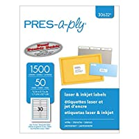PRES-a-ply Labels ,LABEL,FL FLDR,30/50SH,WHT