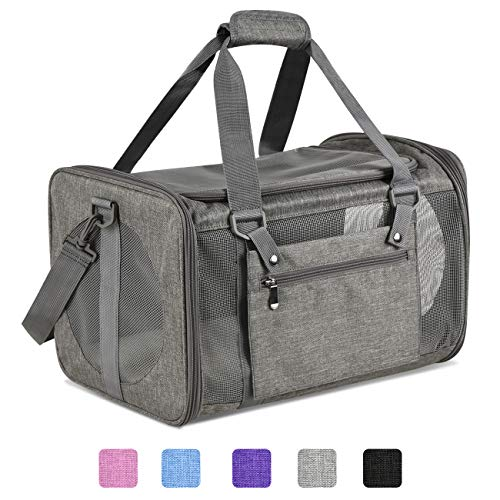 Moyeno Cat Carriers Dog Carrier Pet Carrier for Small Medium Cats Dogs Puppies up to 15 Lbs, TSA Airline Approved Small Dog Carrier Soft Sided, Collapsible Waterproof Travel Puppy Carrier - Grey