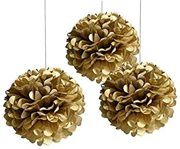 TopAAA 12pcs Tissue Paper Flower Poms Wedding Birthday Party Room Decoration of 10 inches  Gold