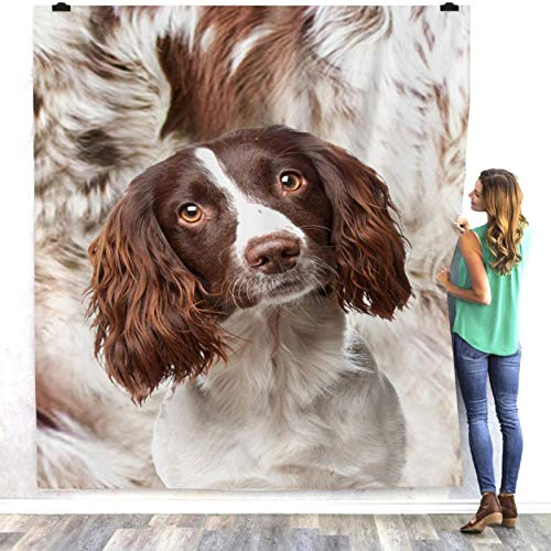 Manta para perro 3D Spaniel manta de forro polar sherpa cálida para sofá, cama, manta de felpa suave, colcha de 150 x 200 cm