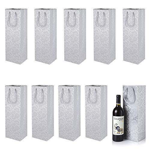 Wijn geschenkzakken, XiYee 10 Pack fles geschenkzakken, fleszakken premium papieren wijnzakken met handvat voor jubileum, verjaardag en festival, voor wijn mousserende wijn en champagne (zilver (12cm* 10cm* 36cm))