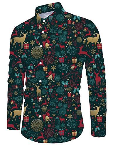 Goodstoworld Camisas de Navidad para Hombre Camisas Feas de Navidad Camisas de Manga Larga Estampadas con Gráficos de Duende para Navidad