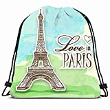 DHNKW Drawstring Backpack String Bag 14X16 Effel Love France Paris Efel Eiffel Over Champ Tower Animals Wildlife Cut La Europe Eifel Tour Travel Amour Sport Gym Sackpack Hiking Yoga Travel Beach