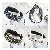Impresión De Anudamiento Diadema Aro Para El Cabello Mujeres Primavera Verano Sombreros Accesorios Para El Cabello Tocado De Ala Ancha 4Pcs