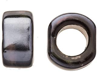 4pcs Moss Agate Porcelain Slider Beads for Licorice Leather - Cube Style Glaze finish 19x12mm