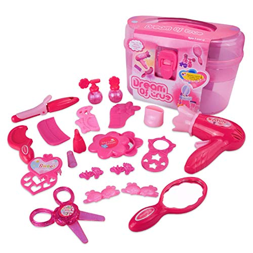 perfecthome Children's Makeup Kit Washable Non-toxic Little Girl Makeup Kit With Suitcase Storage Box Hair Dryer Mirror Comb