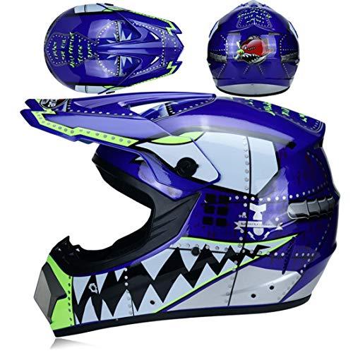 XIUJC Casco de Motocross Casco de Motocicleta para niños con Gafas/Guantes/Cubierta Facial, Casco Integral para niños y Adultos, certificación Dot (Gris, 4 Piezas)(Color:D,Size:L(58-59cm))