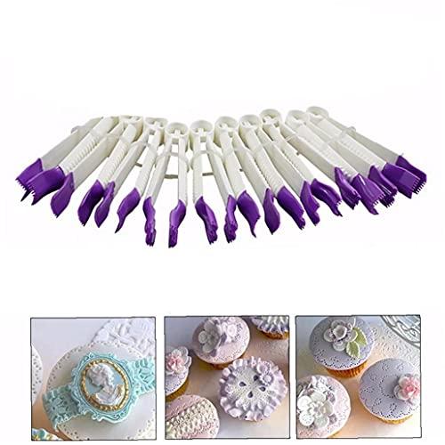 10PCS/Clips conjunto de encaje pinzas de plástico de la categoría alimenticia de la galleta del molde de pastel sello de la magdalena pasta de azúcar que adorna la flor del cordón de la herramienta