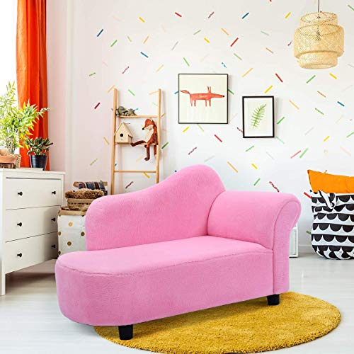 Costzon Kids Chaise Lounge Sofa Couch Set Children Modern Seat Furniture (Pink/Coral Fleece Chaise Longue)