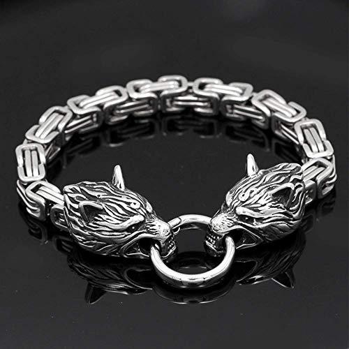 Titanium Steel Men's Stainless Steel Double Head Celtic Wolf Bracelet Thick Bracelet Handmade Chain 21 cm
