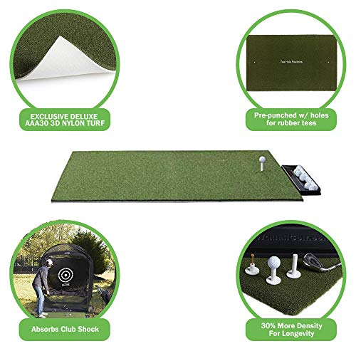 DURA-PRO Premium Residential Golf Mat - 3x5 Feet Premium Turf Indoor/Outdoor Mat - Golf Stance Mat for Pros & Beginners w/Golf Accessories (Golf Tray + 3 Rubber Golf Tees + Adjustable Tee Holder)
