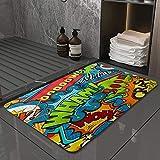 La Alfombra de baño es Suave y cómoda, Absorbente, Antideslizante,Bocadillos de diálogo cómicos Multicolores únicos,Apto para baño, Cocina, Dormitorio (50x80 cm)