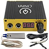 Tattoo Power Supply Foot Pedal Clip Cord Kit, CINRA Professional Digital Tattoo Power Supply Tattoo Foot Pedal Switch and Tattoo Clip Cord Kit Set for Tattoo Machine Supplies (YELLOW)