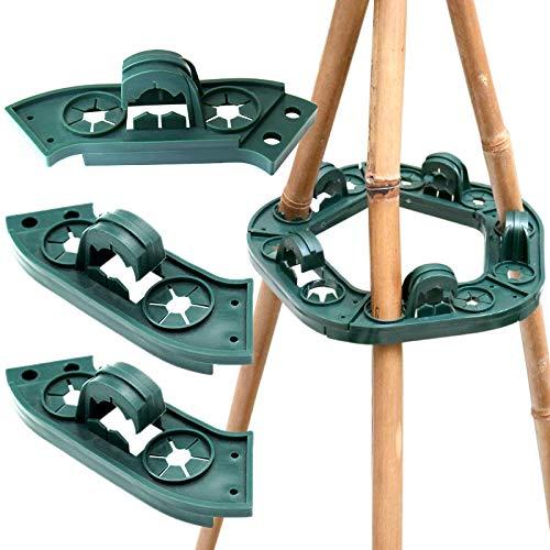 KINGLAKE 2 Stück Plastik Kletterhilfe für Pflanzenstützen, Bohnen Ring für Bambusstöcke Rankgerüste, Bambus Rankhilfen Set als Pyramide