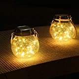 ROSHWEY Hanging Solar Glass Jar Lights Outdoor, 30 LED Waterproof Glass Lantern Table Lamps Great Outdoor Lawn Décor for Patio Garden, Yard and Lawn. (Warm White Light, 2 Pack)