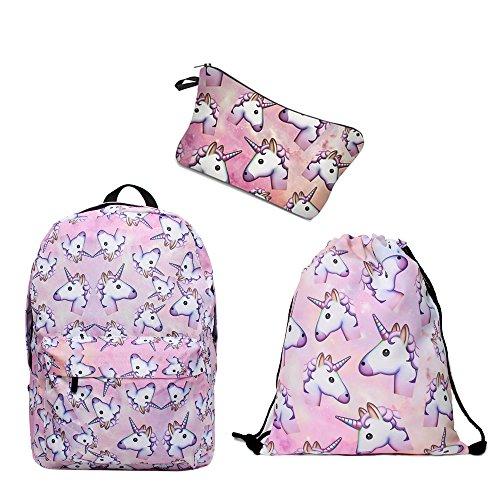 Leah's fashion ,Sac à Dos Enfants, kit de 3 pcs pour femme rose Multicolore