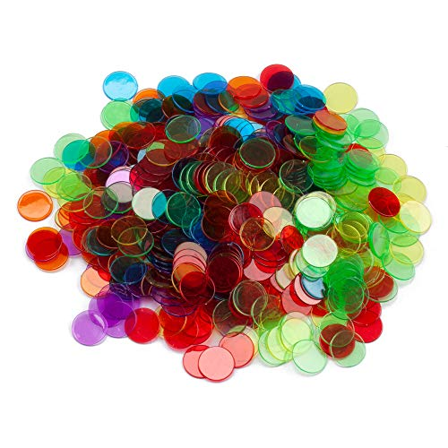 GSE Games & Sports Expert 500/1000 Pieces of 3/4-inch Plastic Transparent Bingo Chips (Several Colors Available) (Mixed, 500-Pack)